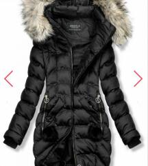 Fekete új szőrmès hosszú kabát mellény S