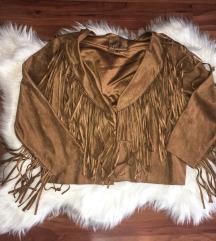 Hasított bőr rojtos kabátka