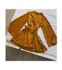MISSGUIDED mustársárga megkötős ruha