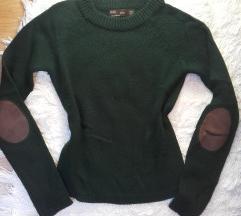 zara fenyőzöld pulóver