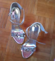 Új gyönyörű ezüst,virágos cipő