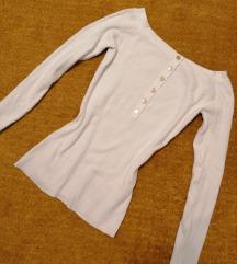 Fehér ejtett vállú pulcsi