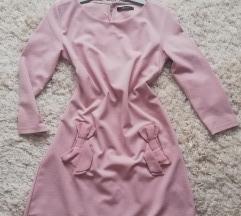 Elegáns pasztell rózsaszín masnis ruha