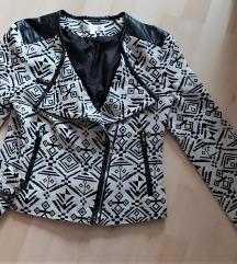 Fekete-fehér aztékmintás, műbőrbetétes blézer M/L