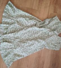 ÚJ almazöld, virágmintás fodros nyári ruha