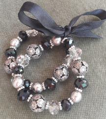 Masnis, gyöngyös fekete/ezüst bijou karkötő