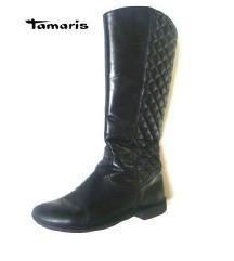 Tamaris steppelt fekete bőr csizma,