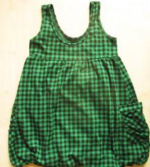 Zöld, kockás miniruha/tunika, S/M