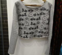 Bicikli mintás cropped pulóver