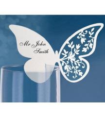 ÚJ-Türkíz lézer vágott pillangós ültetőkártya