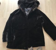 Barna szőrme szőrmés kapucnis téli kabát