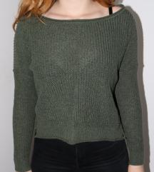 Zöld kötött hollister pulcsi