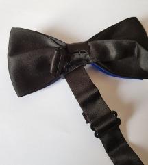 ÚJ szatén csokornyakkendő – fekete-királykék