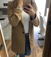 Zara beige gyapjú szövet kabát XS