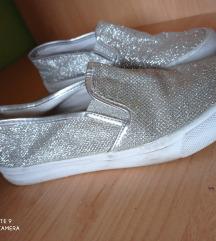 Ezüst csillámos flip flop