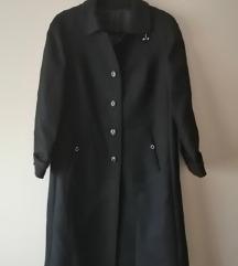 Fekete, elegáns, hosszú női szövetkabát - 46-os
