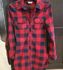 Sötétkék piros kockás hosszú ing