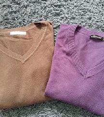 2db basic felső / lila + barna pulóver