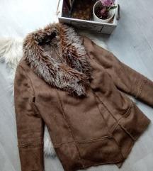Essence szőrme bélésú művelúr kabát 44/L