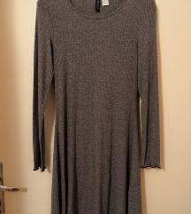 H&M világos szürke A-vonalú bordás ruha XS 34