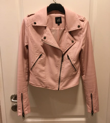Rózsaszín műbőr dzseki 34