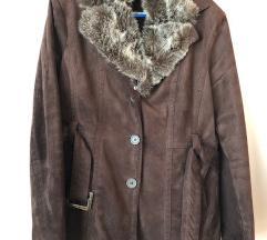Női barna őszi csinos kabát övvel L