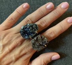 Kék féldrágakő gyűrűk 2 db