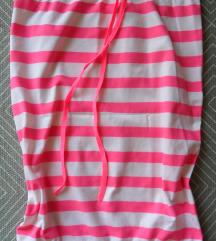 M - Fehér-pink csíkos csőtop, nyári felső