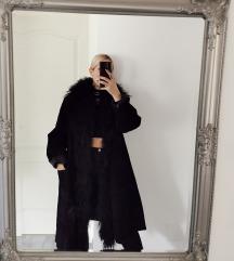 Vintage valódi bőr kabát szőrmével