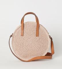 Teljesen új H&M púderrózsaszín papírszalma táska