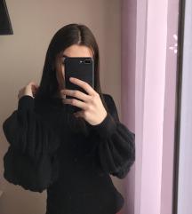 Fekete puffos ujjú pulóver