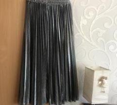 Ezüst csillogós plisszírozott szoknya