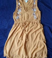 okkersárga hímzett elegáns h&m ruha
