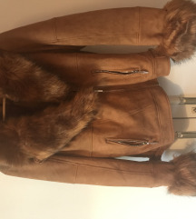 Zara stílusú barna szőrmés kabát M ÚJ!