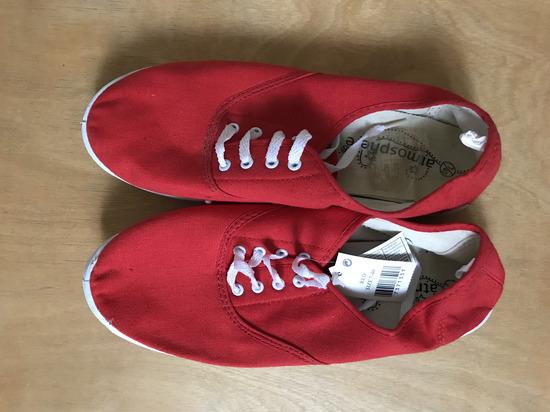 vadonatúj piros vászon cipő