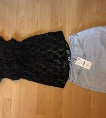 Szexi Tally Weijl csipke ing + Zara miniszoknya S