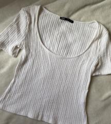 Zara fehér bordázott póló