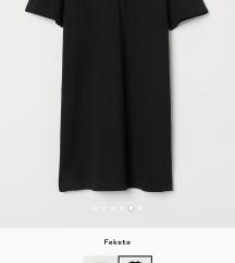 Fekete galléros rövid ujjú ruha (M)