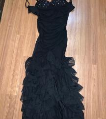 fekete uszályos atmosphere ruha