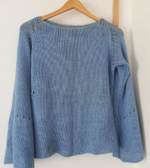 S, 36 - Világoskék lazán kötött pulcsi, pulóver