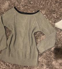 Khaki színű kötött pulcsi s/m