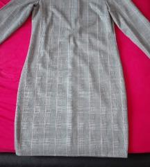 Elegáns, mintás, kockás, szürkés színű ruha