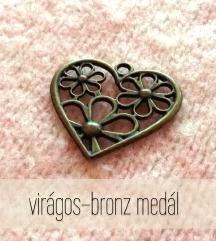 Virágos szív alakú bronz medál