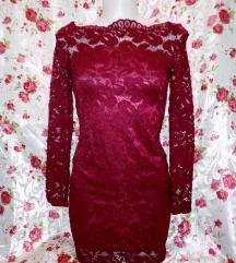 Új bordó piros alkalmi csipke ruha M méret kb.
