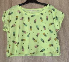 Neon sárga ananászos Bershka crop top