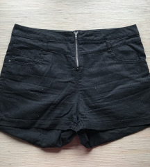 Fekete magas derekú rövidnadrág