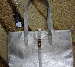 Ezüst márványos KAREN rostbőr táska
