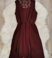 Bordó csipkés nyári ruha S