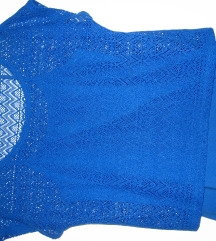 Kék spagettipántos trikó, horgolt felsővel S-M-es