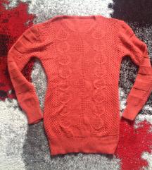 Új s-es kötött pulcsi téglavörös igazi őszi/téli